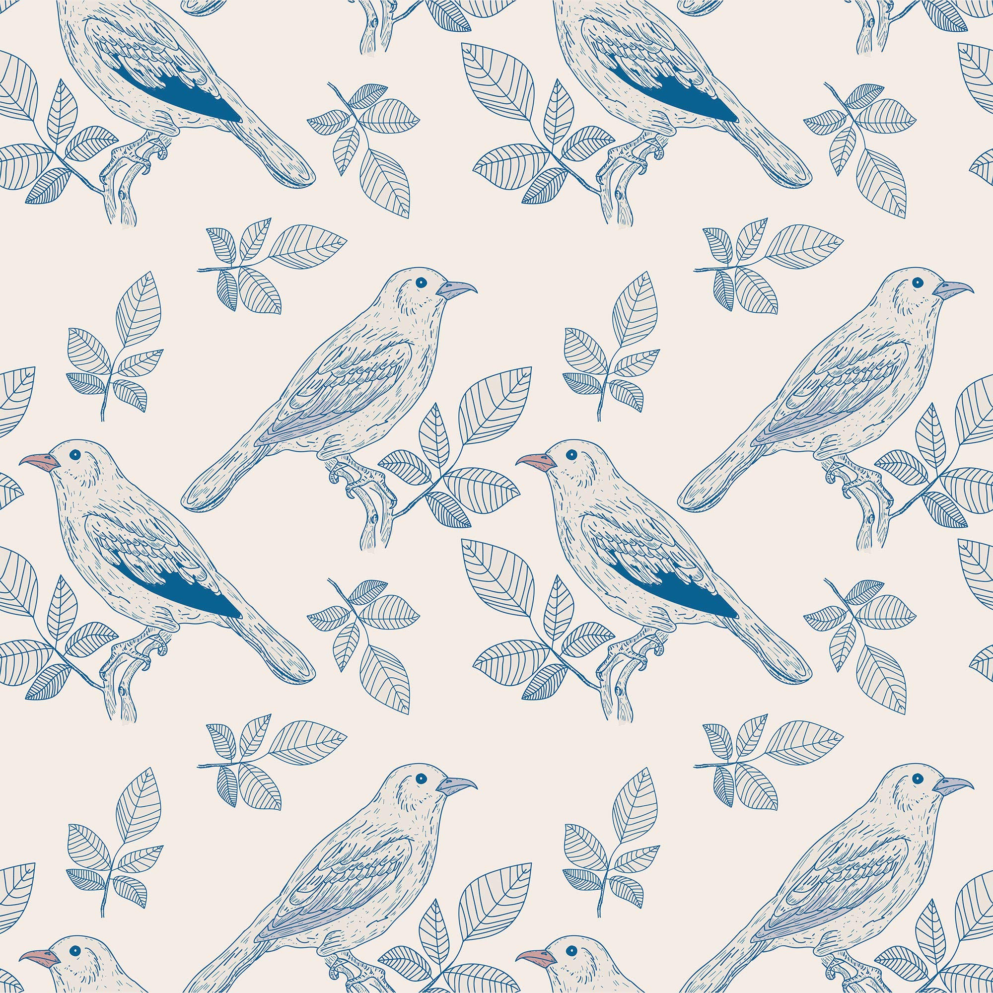 WallsByMe Peel and Stick Silver and Blue Floral Animal Removable Wallpaper 3836-2ft x 10.5ft (61x320cm) - WallFab - 7mil