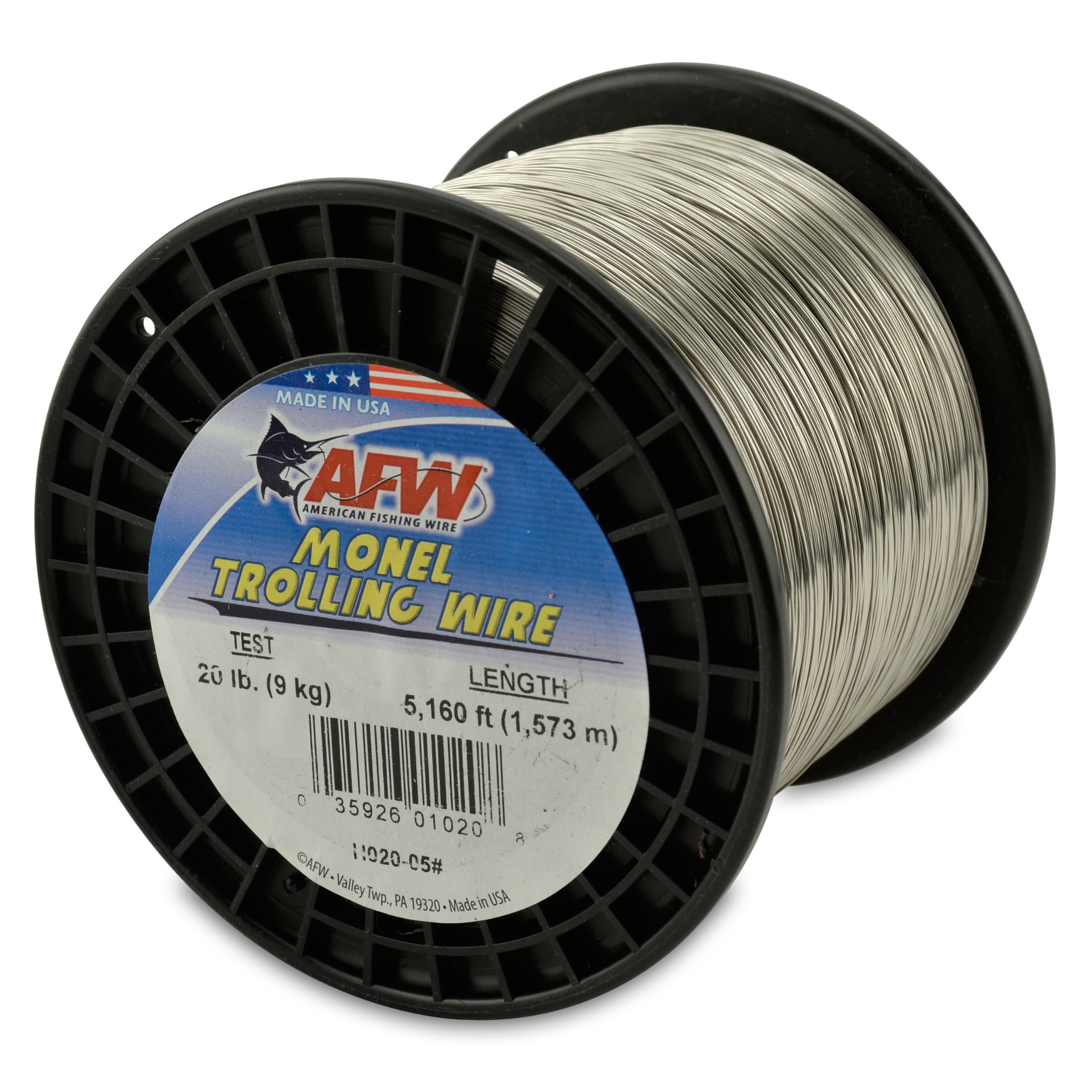 American Fishing Wire Monel Trolling Wire, 20-Pound Test/0.46mm Dia/1572m