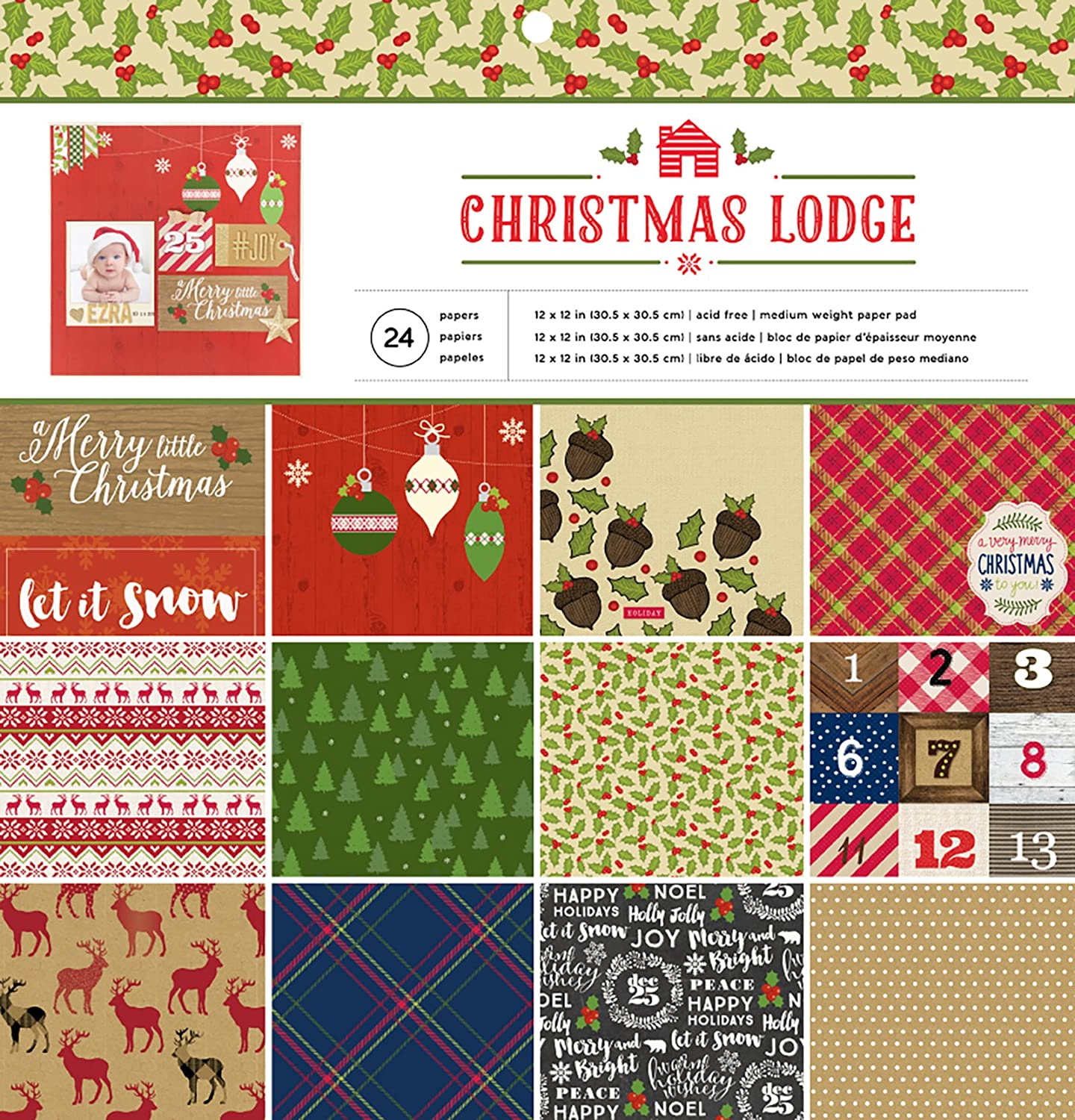 American Crafts 374925 Christmas Lodge 12 X 12 24 Sheet Paper Pad Christmas Lodge