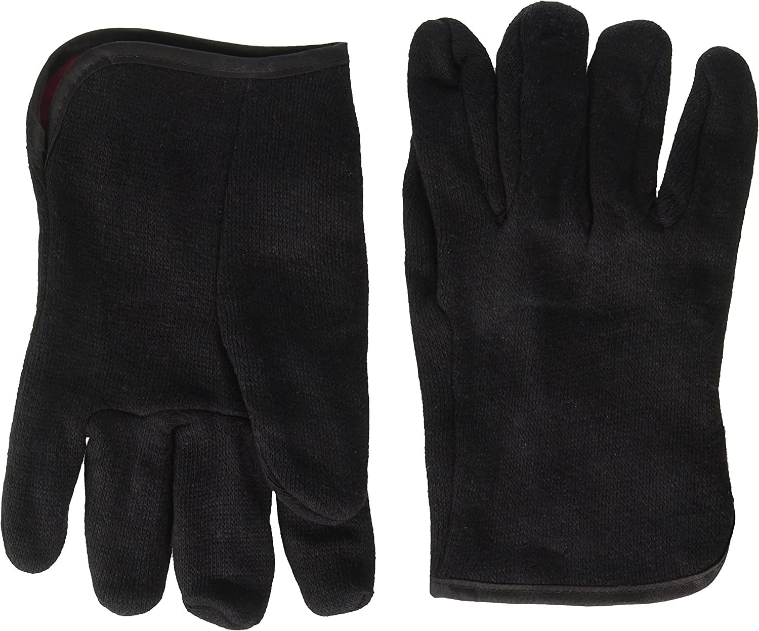 Pair BlackCanyon Outfitters 69000//L Brown Large Jersey Gloves with Red Fleece Lining and Open Cuff
