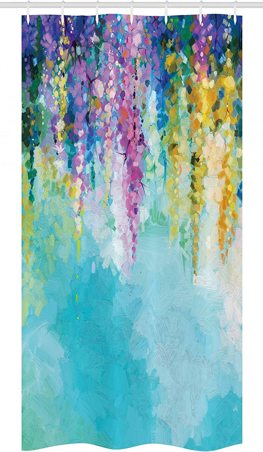 "Ambesonne Flower Stall Shower Curtain, Abstract Ivy Romantic and Landscape Spring Floral Artwork Nature Theme, Fabric Bathroom Decor Set with Hooks, 36"" X 72"", Turquoise Purple"