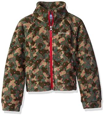 9853162a Columbia Girls' Big Benton Springs Ii Printed Fleece Jacket, Punch Pink  Camo Dots Small