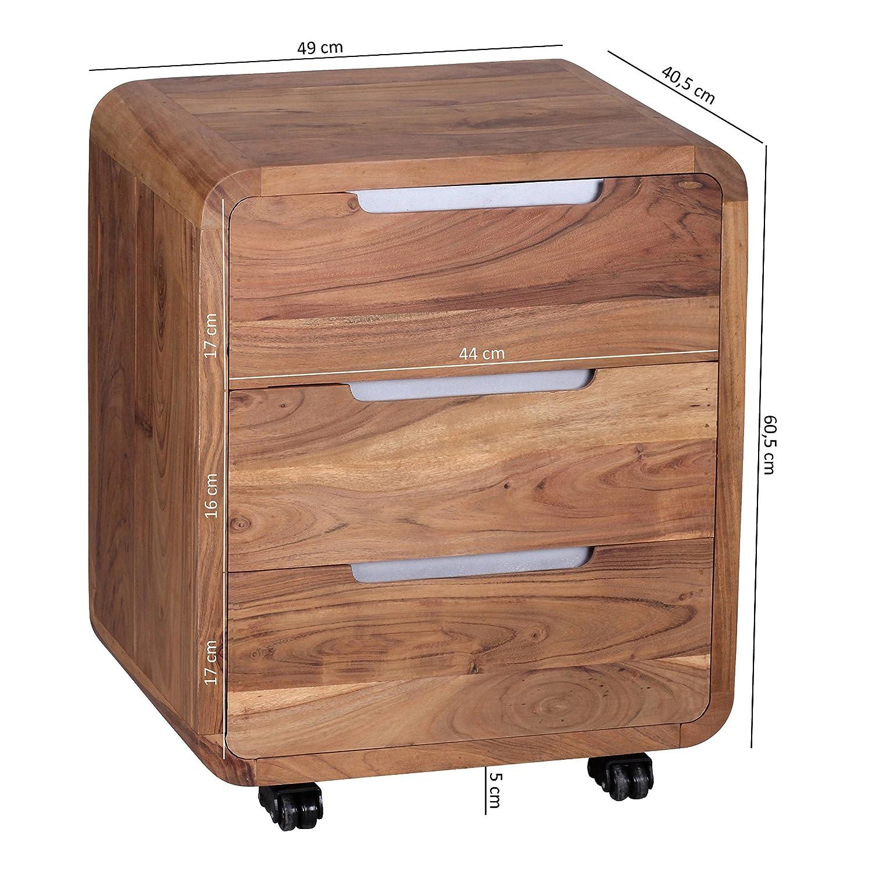 Rollcontainer design hoch  WOHNLING Rollcontainer Akazie Massivholz Design Schubladenschrank ...