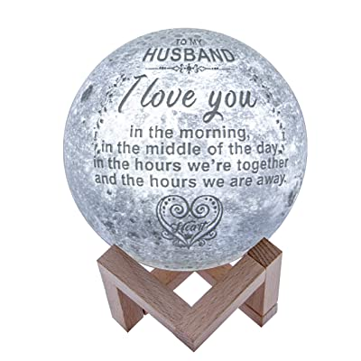 Engraved 3D Moon Lamp for Husband, Personalized 5.9 Inch 3D Printing Moon Light Gift for Husband Valentine's Christmas Gift (for Husband)