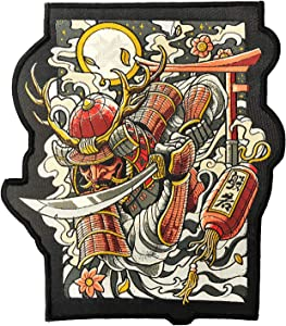 Ronin Oni Bushi Patch – Samurai Tactical Backpack Patch – Woven Cut Out Custom Patches for Backpack and Jackets – 6 ¾ x 8-inch BJJ Patch with Piping Border – Cool Warrior Patch Display