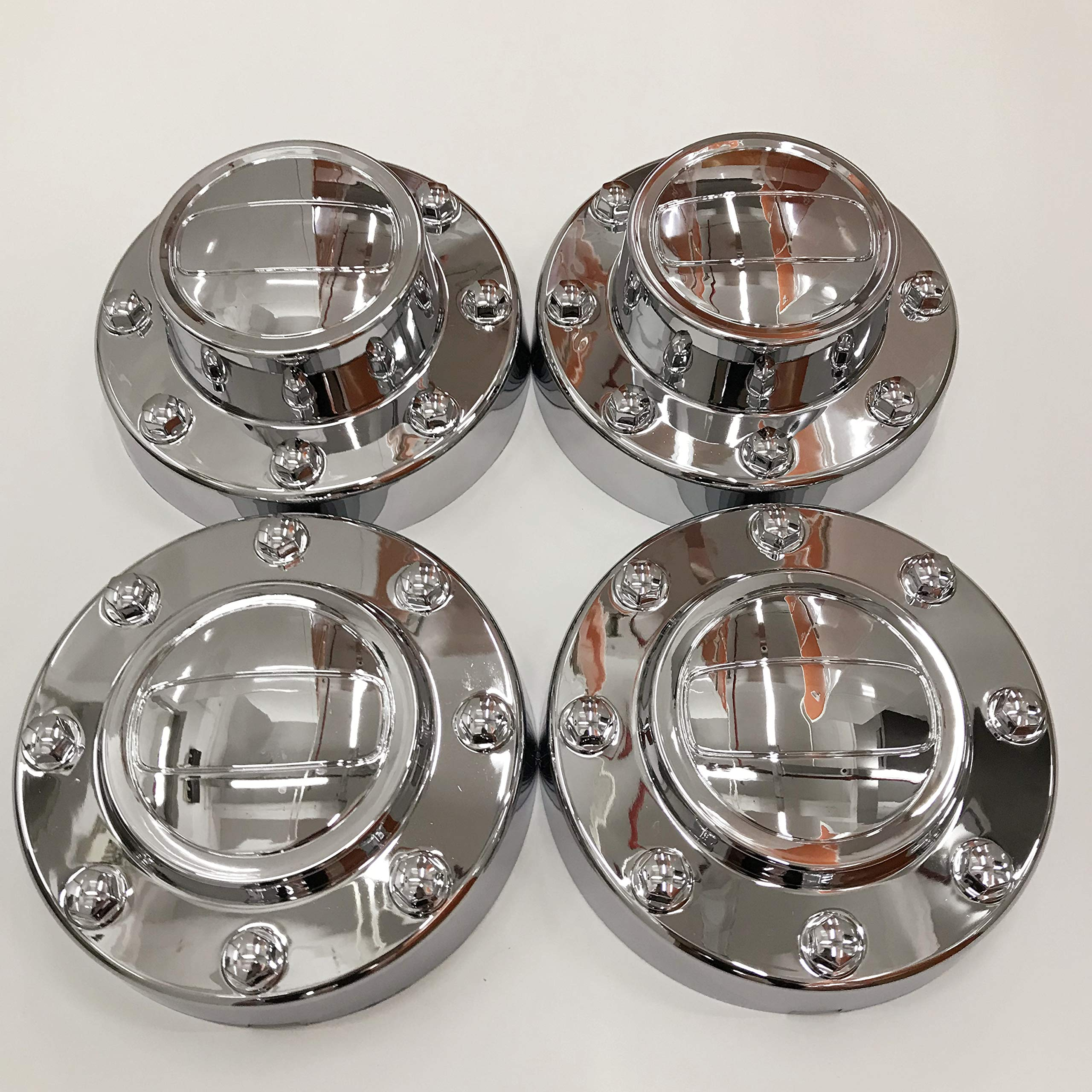 PPCovers New Replacement for 2011-2016 Ram 3500 Chrome Wheel Hub Center Caps Set 1-TON Dually DRW Alcoa Alloy Wheel 2 Front and 2 Rear by PPCovers