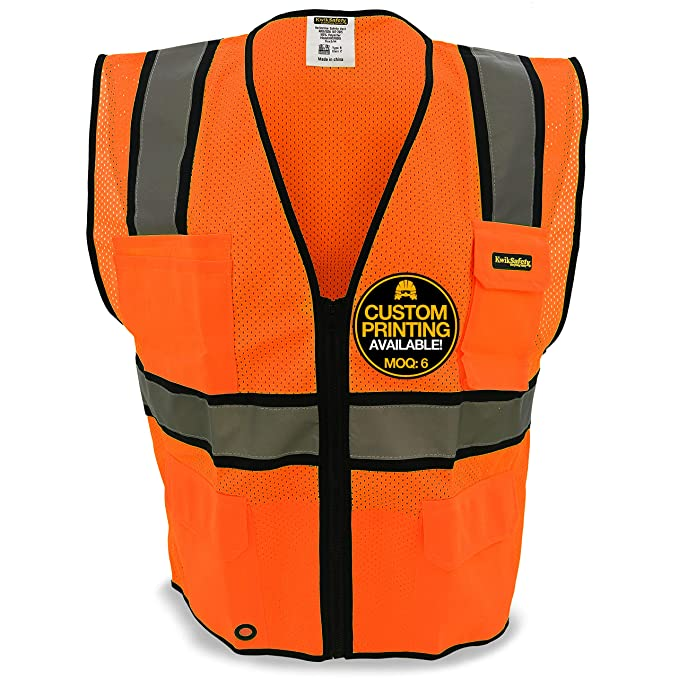 Reflective Safety Vest With Pockets Working Clothes Jacket Mens Cargo Work Vest Multi Pockets Logo Printing A Wide Selection Of Colours And Designs Workplace Safety Supplies