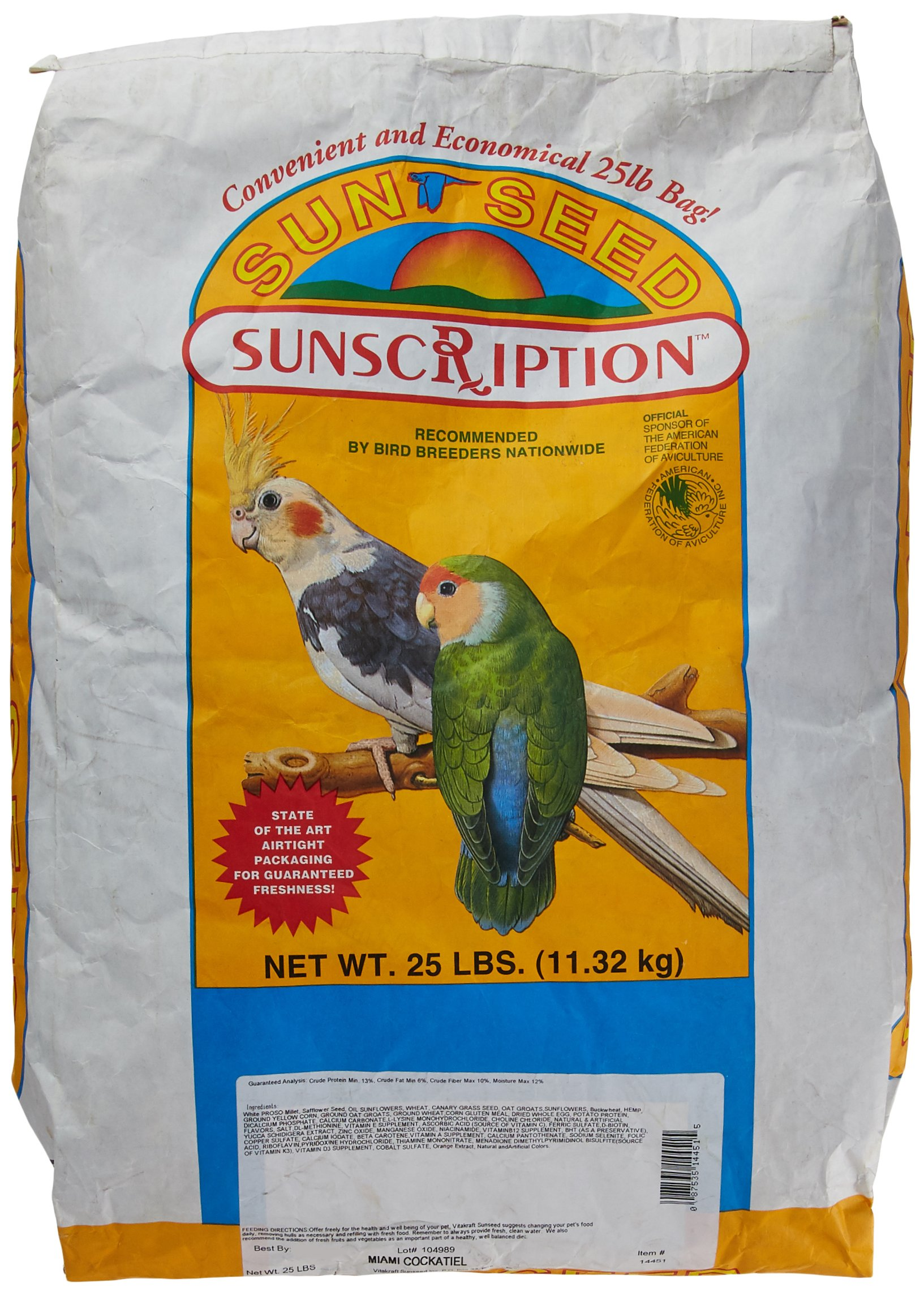 Sun Seed Company Bss14451 Miami Vita Mix Cockatiel Food, 25-Pound by Sun Seed