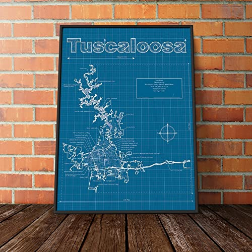 Amazon tuscaloosa alabama map blueprint style handmade tuscaloosa alabama map blueprint style malvernweather Gallery