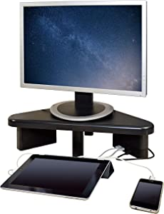 DAC Stax Adjustable, Stackable Desktop Computer Monitor Stand Laptop Riser with 2 USB Charging Ports, Supports up to 66 Pounds, Corner Stand, Triangle