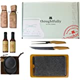The Steakhouse Gift Box by Thoughtfully, Intended for the Serious Gourmand This Set Includes A Granite Meat Searing Stone, Wood Tray, Carving Knife & Fork, 4 BBQ Sauces & Dipping Bowls