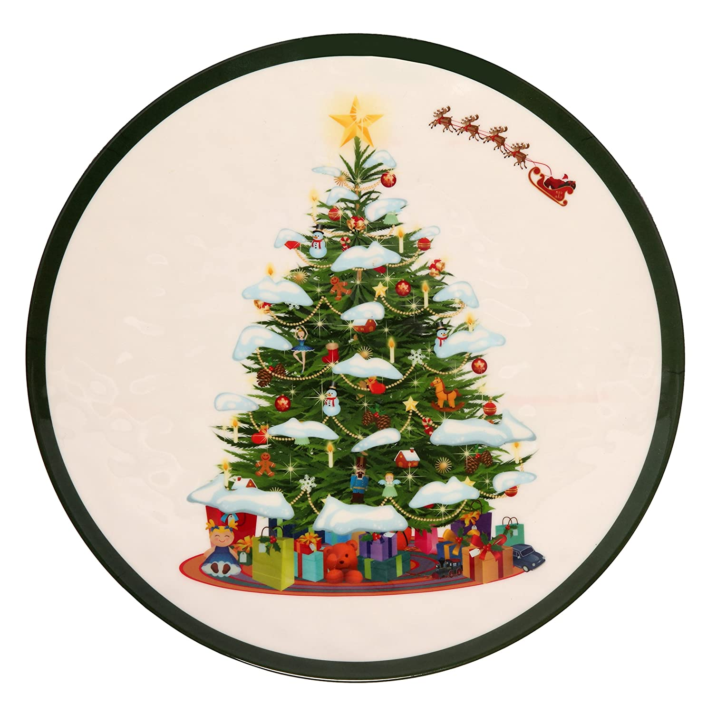 Melange 6-Piece 100/% Melamine Dinner Plate Set Shatter-Proof and Chip-Resistant Melamine Dinner Plates Christmas Tree Collection
