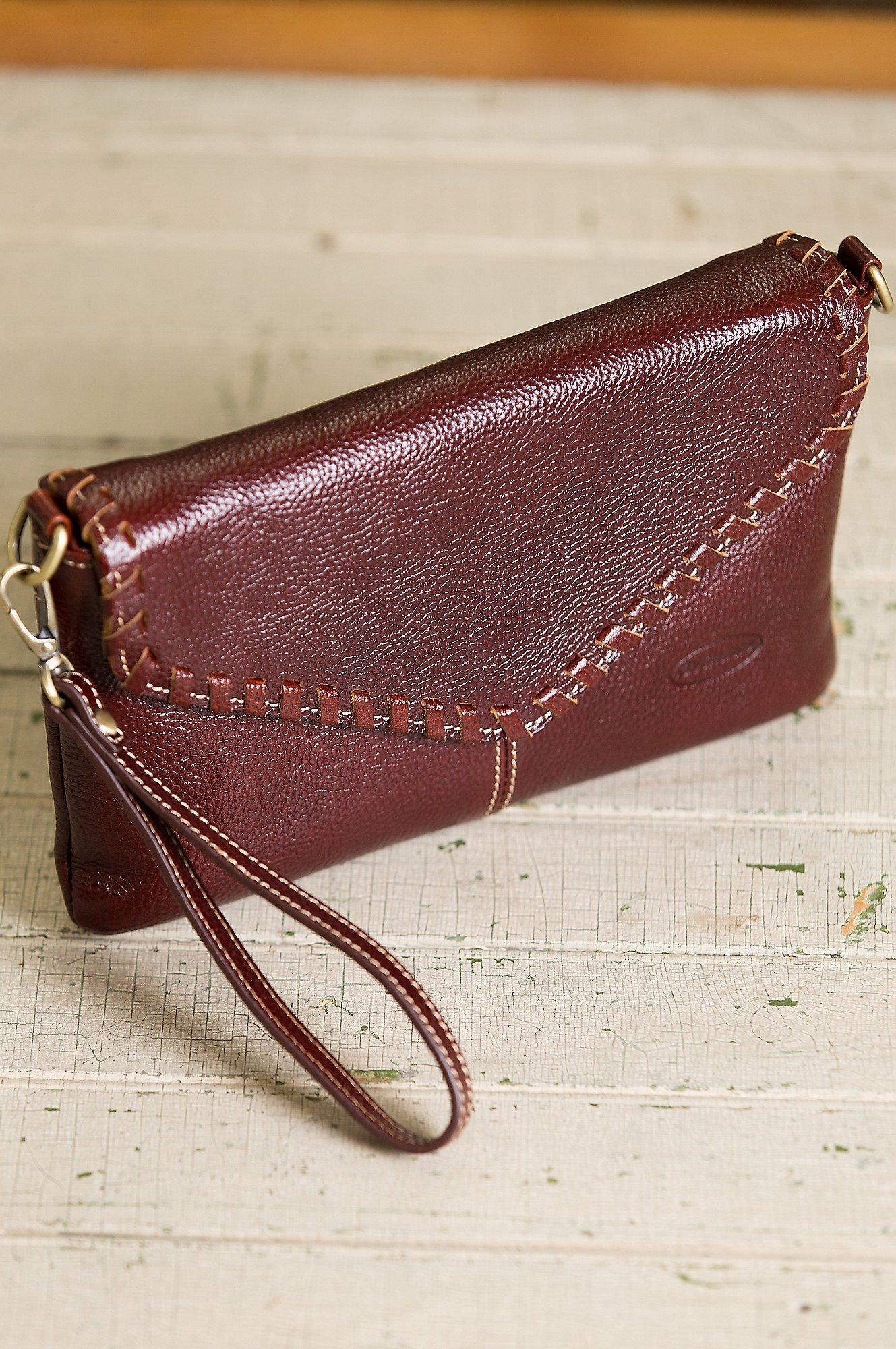 Connie Pebbled Leather Crossbody Wristlet Clutch by Overland Sheepskin Co (Image #5)