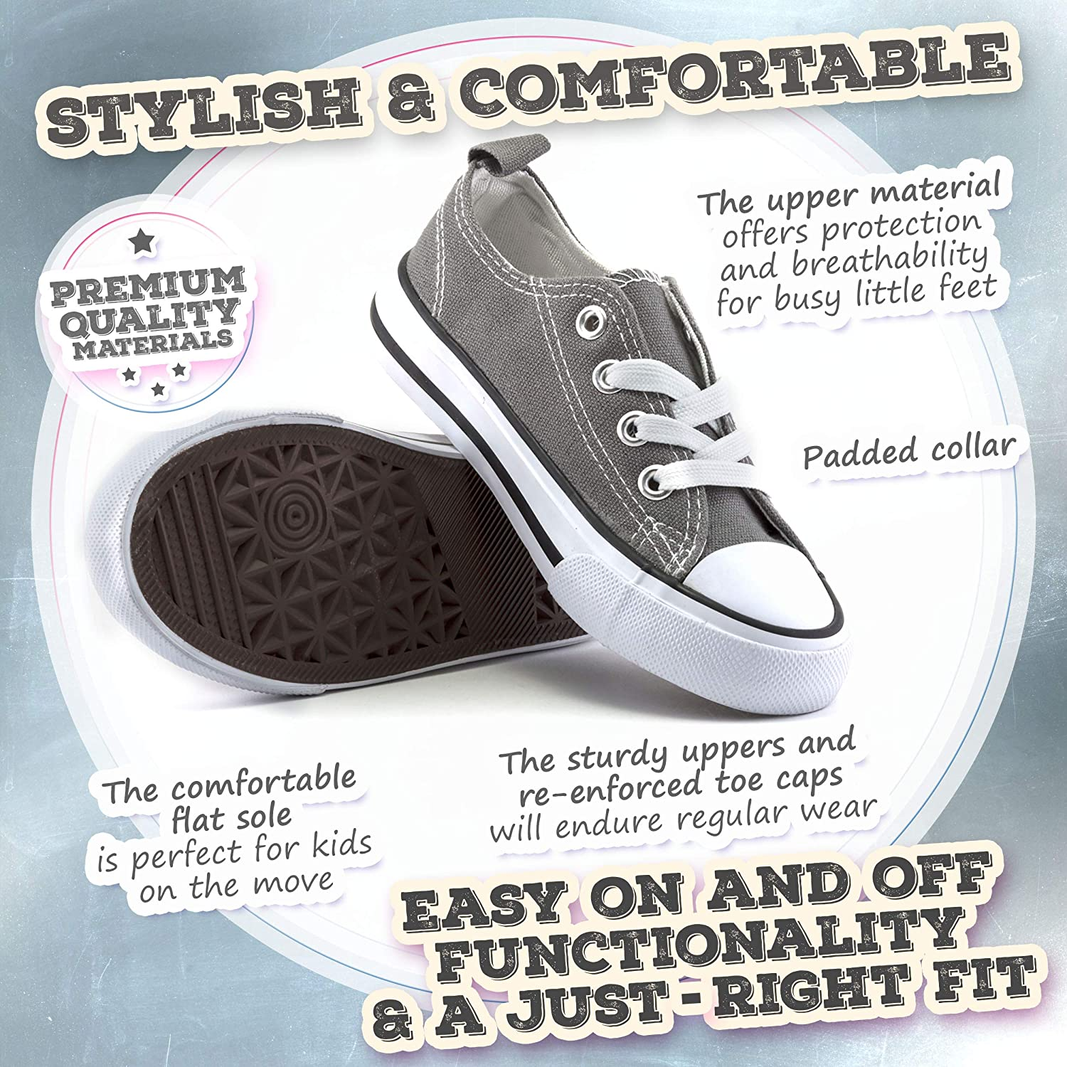 Kids Sneakers for Girls and Boys ZOOGS Low Top Vulc Canvas Shoes for Kids