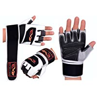 EVO Fitness Pure Leather Weightlifting Gym Gloves Neoprene Wrist Support wraps straps Bodybuilding Wheelchair cycling glove