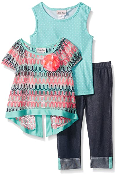 81a7c14d4f13 Amazon.com  Little Lass Baby Girls  3 Pc Denim Capri Set Lurex