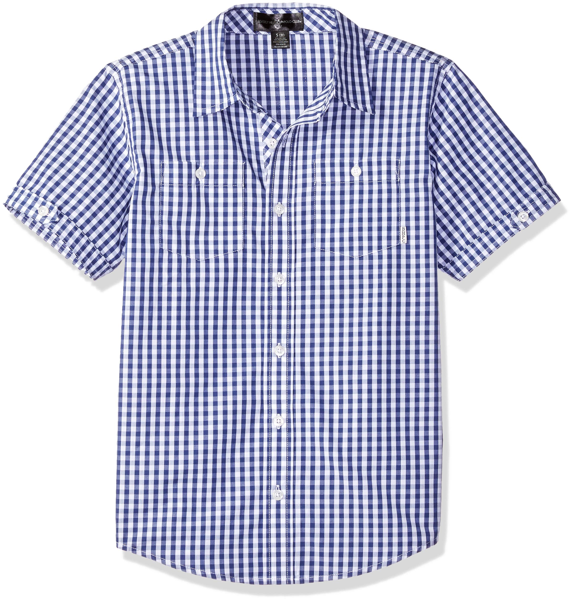 Beverly Hills Polo Club Big Boys' Short Sleeve Shirt, Navy/White Gingham, 18/20