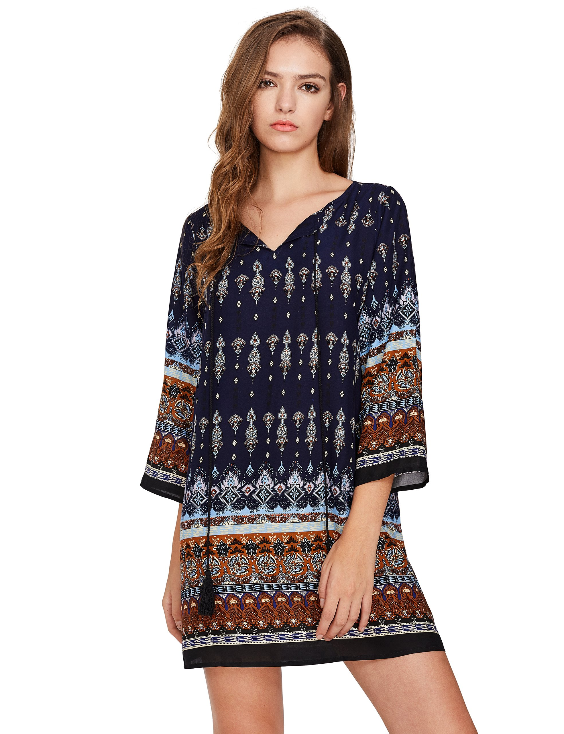 ROMWE Women's Boho Bohemian Tribal Print Summer Beach Dress Navy S by Romwe (Image #1)