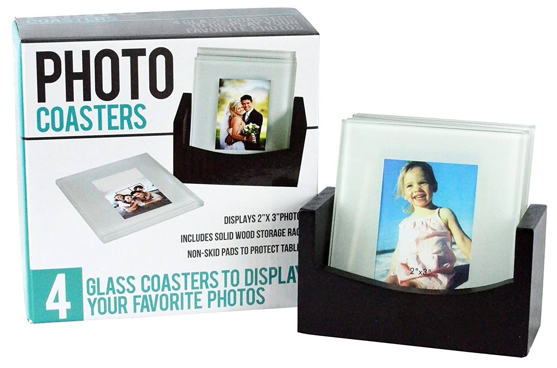 Amazon.com - Southern Homewares Set of 4 Glass Photo Frame Coasters ...