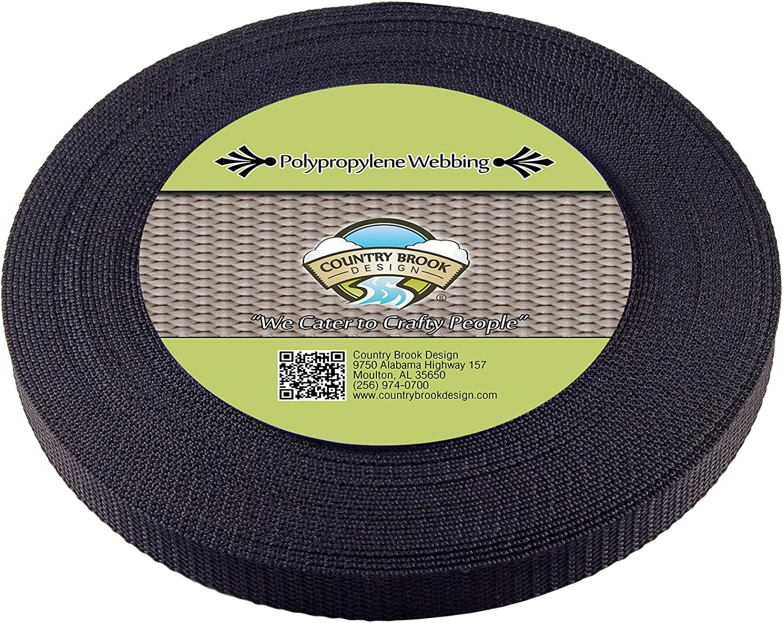 100 Yards Country Brook Design® 5//8 Inch Black Heavy Polypro Webbing