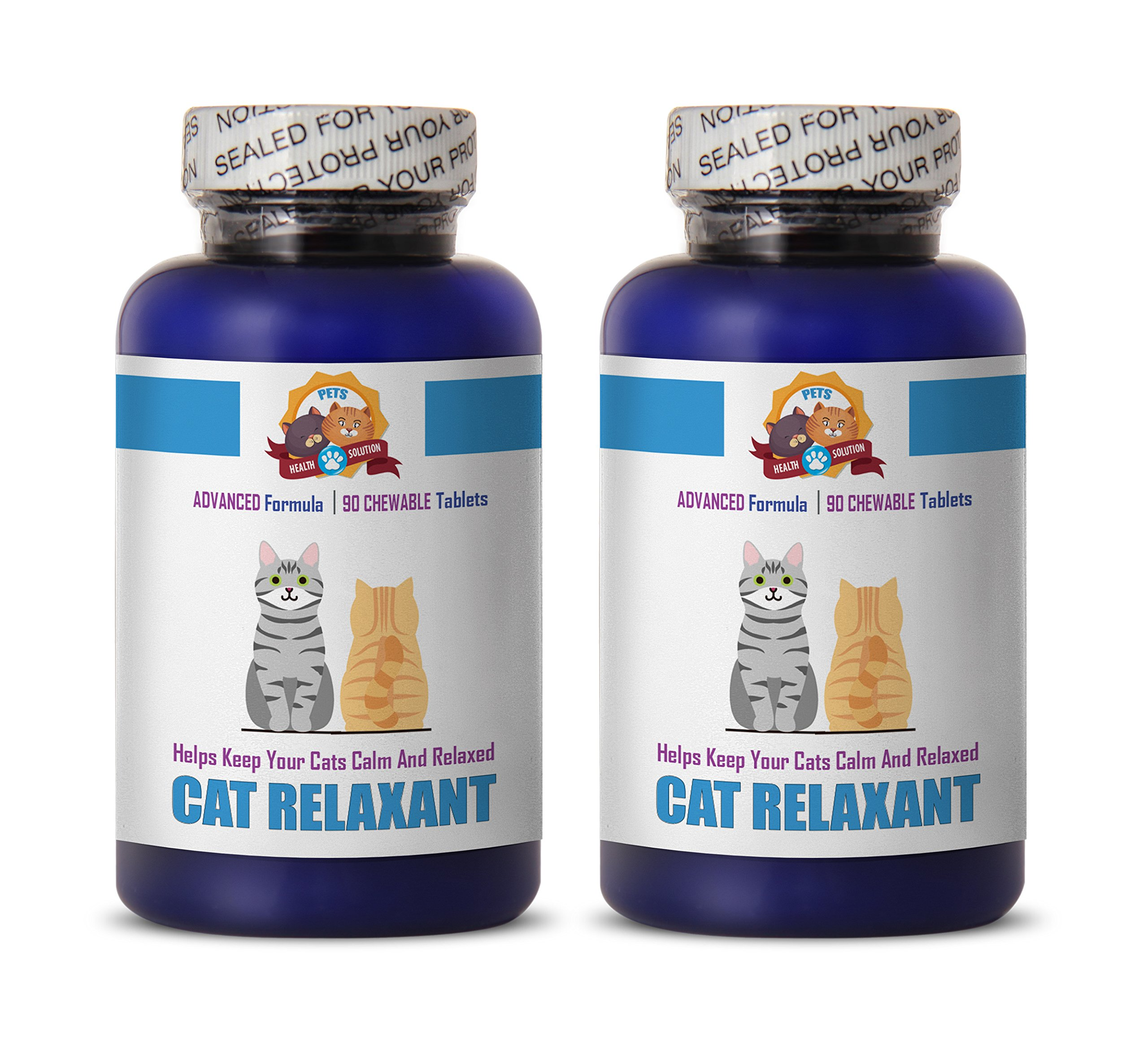 PETS HEALTH SOLUTION cat calming tablets - RELAXANT FOR CATS - HELPS KEEP CALM - ANXIETY RELIEF - TREATS - calming cat treats - 180 Treats (2 Bottle) by PETS HEALTH SOLUTION