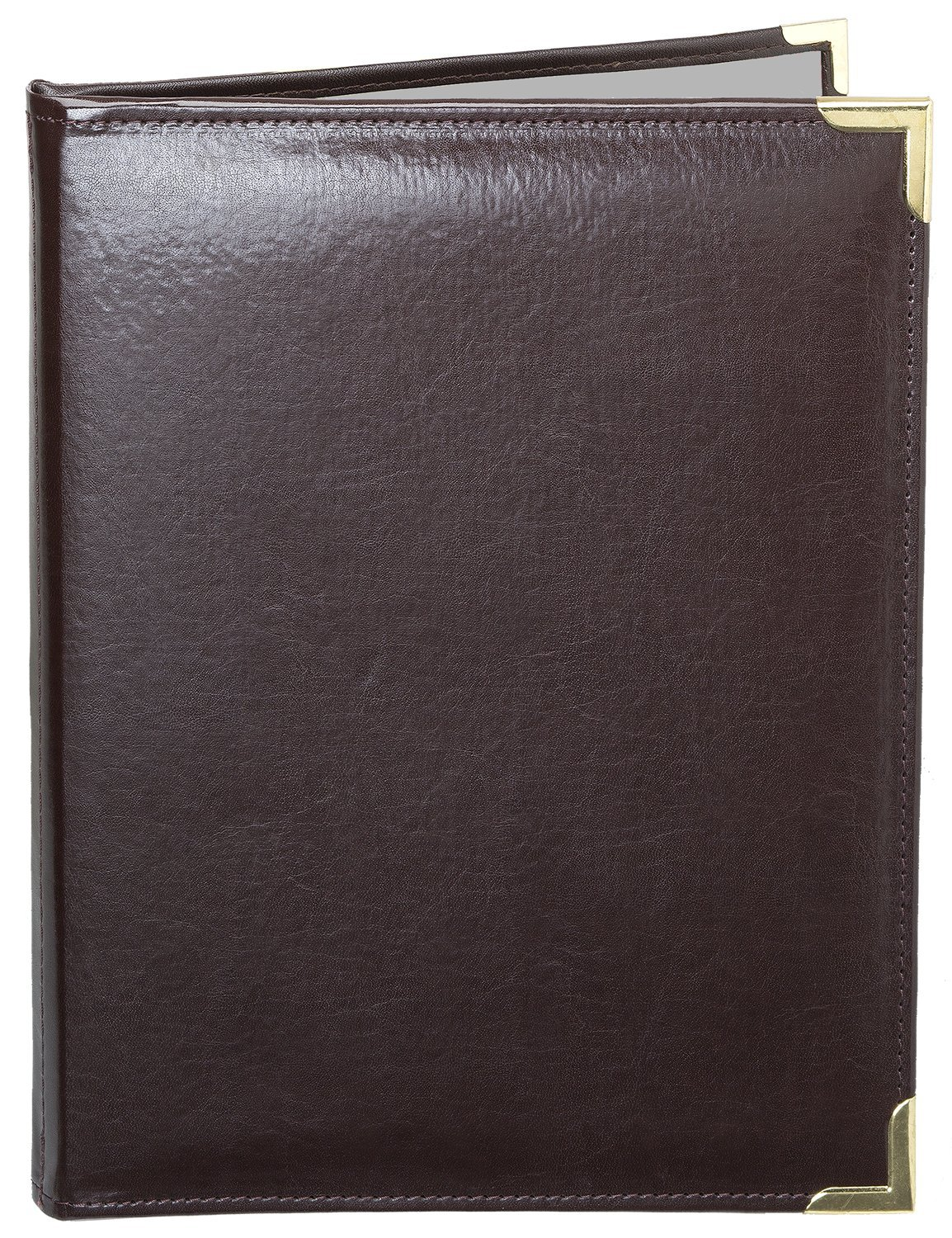 MenuCoverMan • Case of 5 Menu Covers • Allante #7008 BROWN DOUBLE PANEL - 2-VIEW - 8.5'' W x 14'' H - STITCHED-Elegant Gold metal corners. See all covers: type MenuCoverMan in Amazon search.