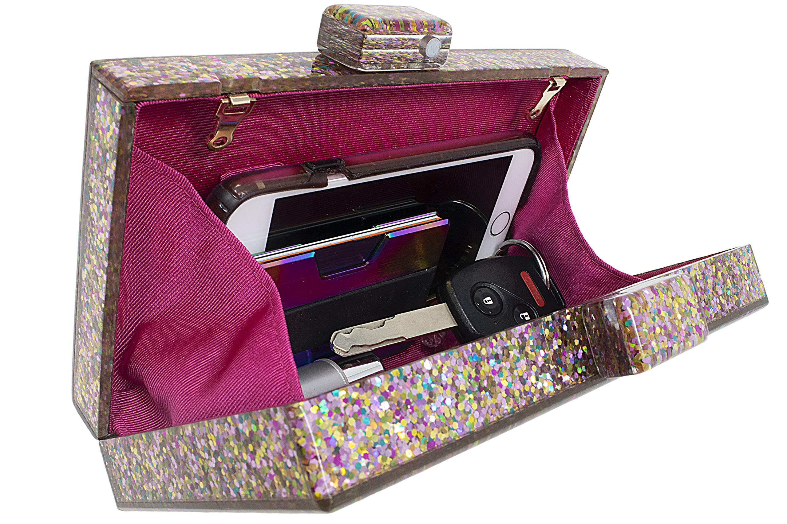 BG-713-G65 Box Clutch Crossbody Hard Case Purse Evening Bag - Glitter Rose Gold by Funky Junque (Image #3)