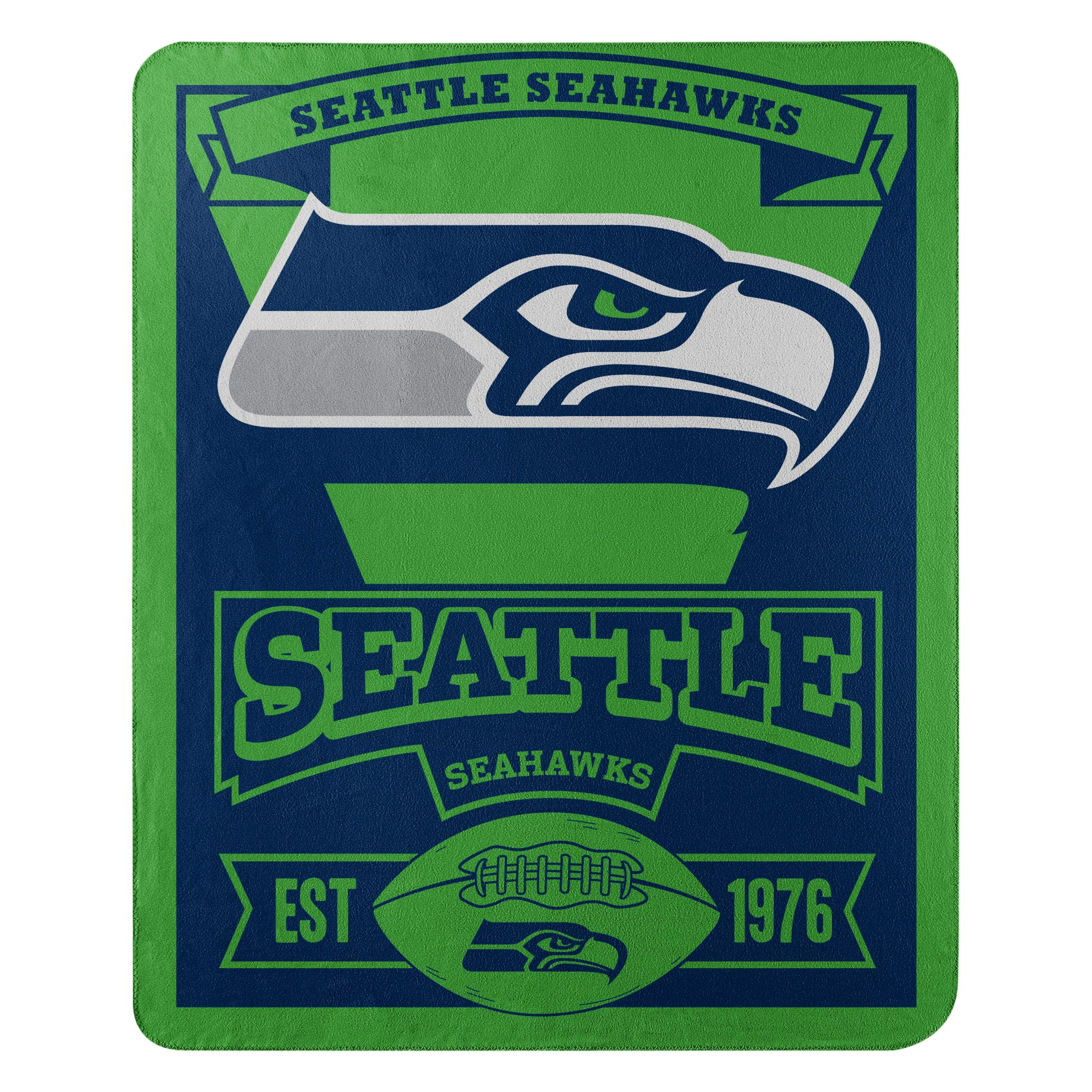 The Northwest Company Officially Licensed NFL Seattle Seahawks Marque Printed Fleece Throw Blanket, 50'' x 60'', Multi Color by The Northwest Company