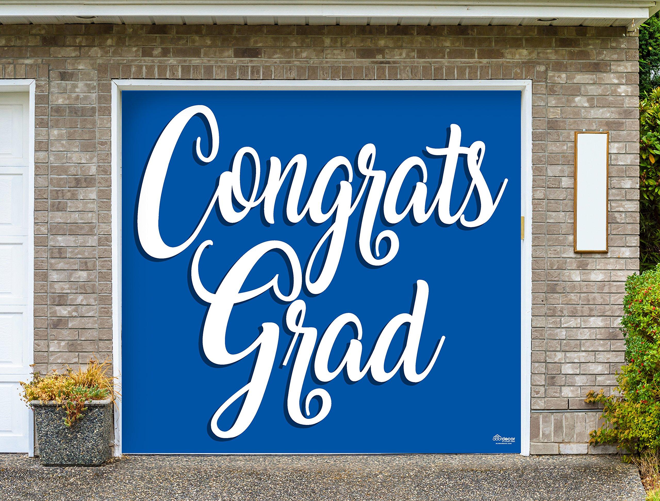 Victory Corps Congrats Grad Blue - Outdoor Graduation Garage Door Banner Mural Sign Décor 7'x 8' Car Garage - The Original Holiday Garage Door Banner Decor