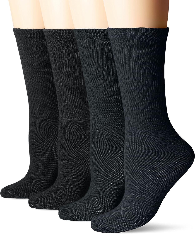 Dr. Scholl's Women's Guaranteed Comfort Diabetic and Circulatory crew 4 Pack Socks ,Black, 4-10: Clothing