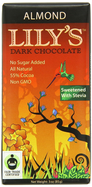 Amazon.com : Lily's Dark Chocolate Bar with Stevia, Almond, 3 ...