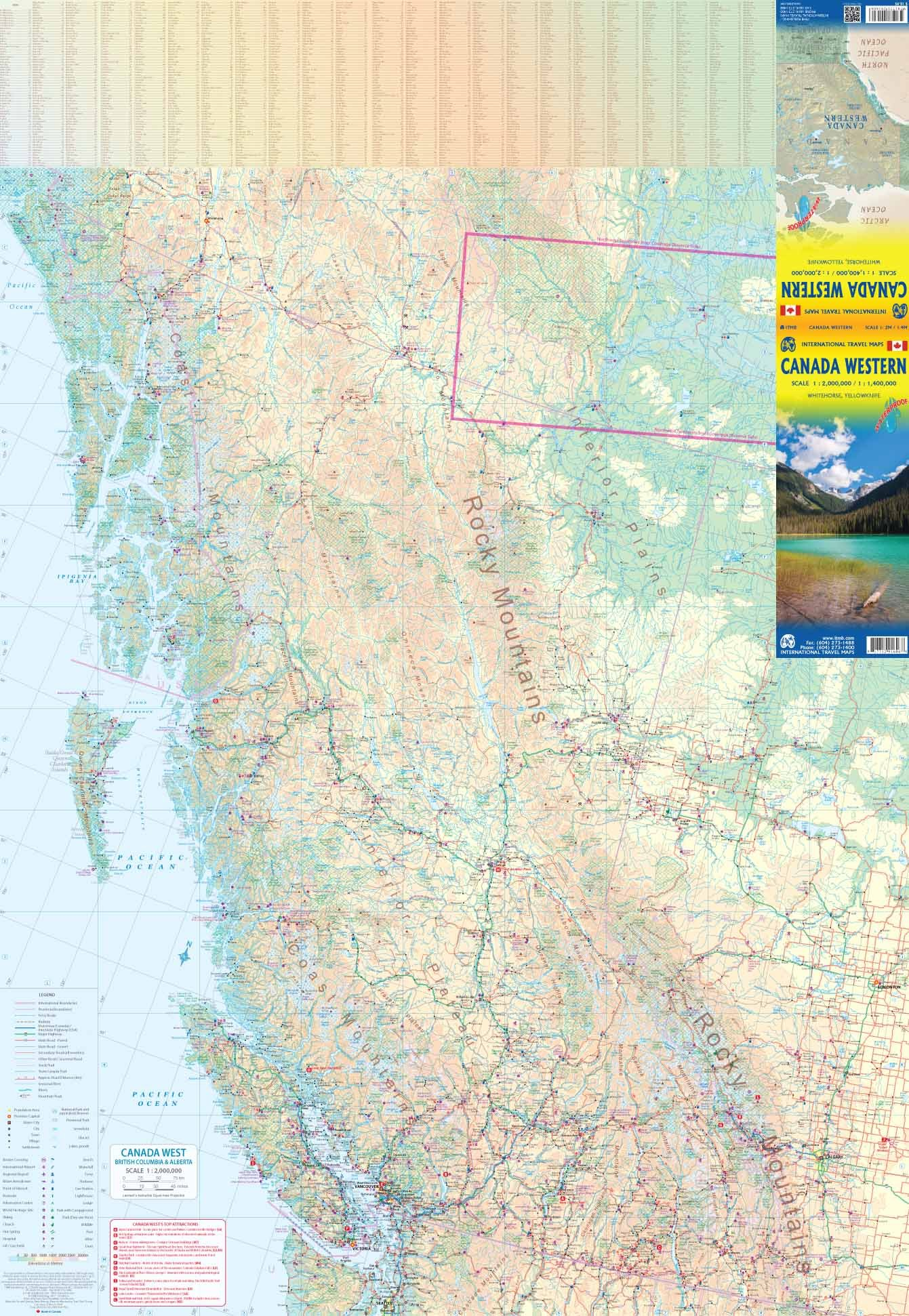 West Of Canada Map.Canada Western Travel Reference Map Waterproof Itmb Publishing