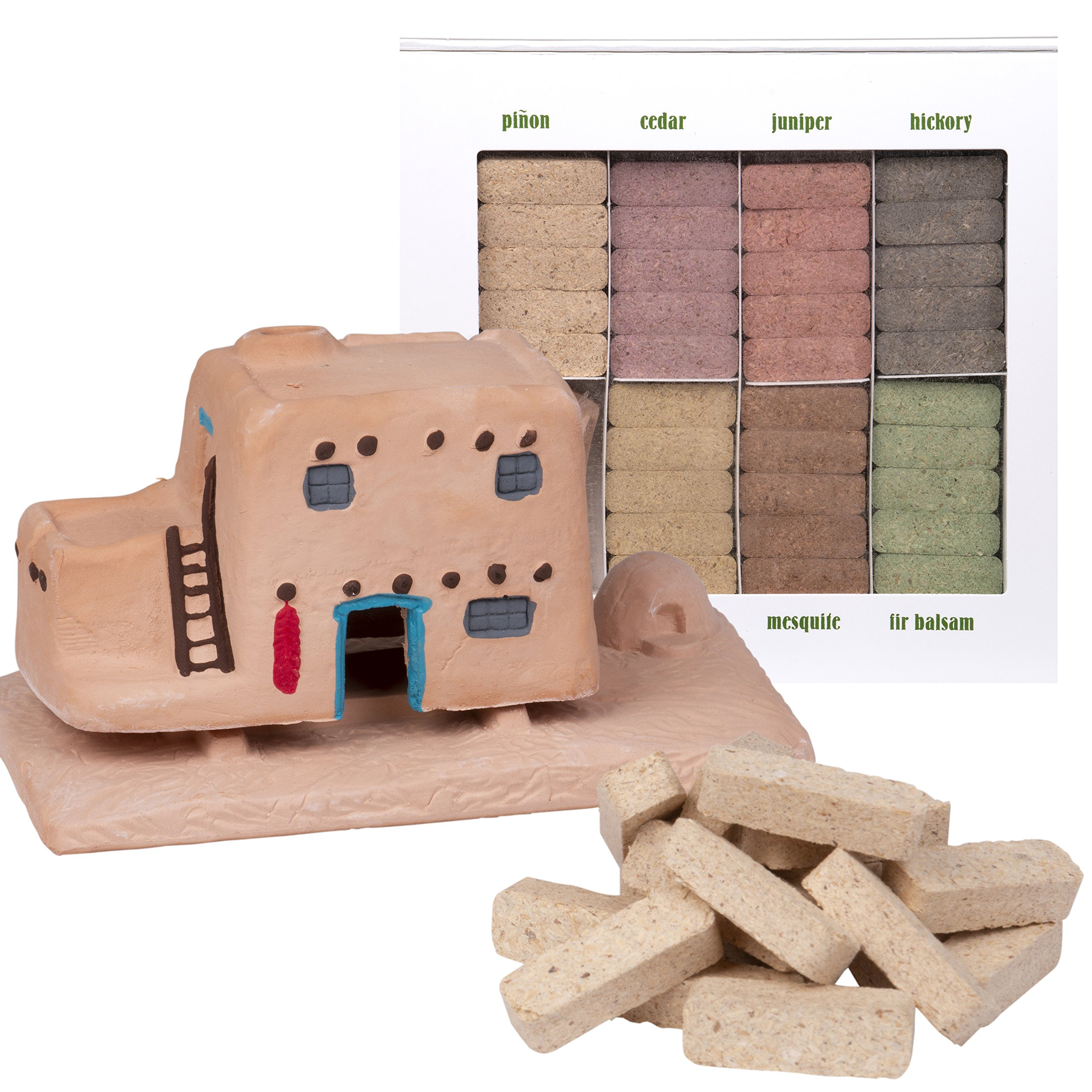 Incienso de Santa Fe Casa (Adobe House) Burner with Pinon Natural Wood Incense and 7 Scent Sampler - Made in the US