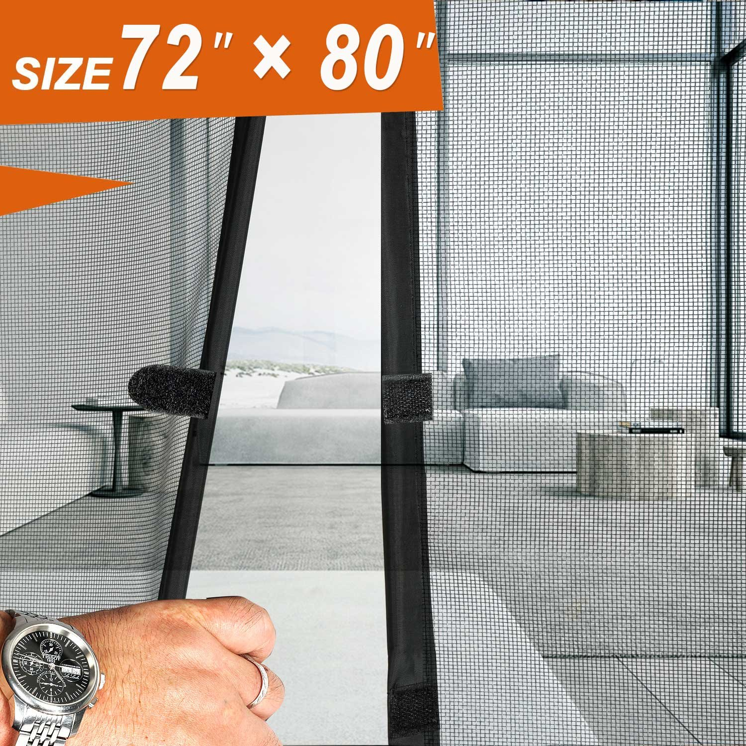 ... Magnetic Mesh Screen Fiber Heavy Duty Large French Double Door Insect Screen  Mesh Fit Your Door Size 70W X 79H Inch With Full Frame Velcro Front Door ...