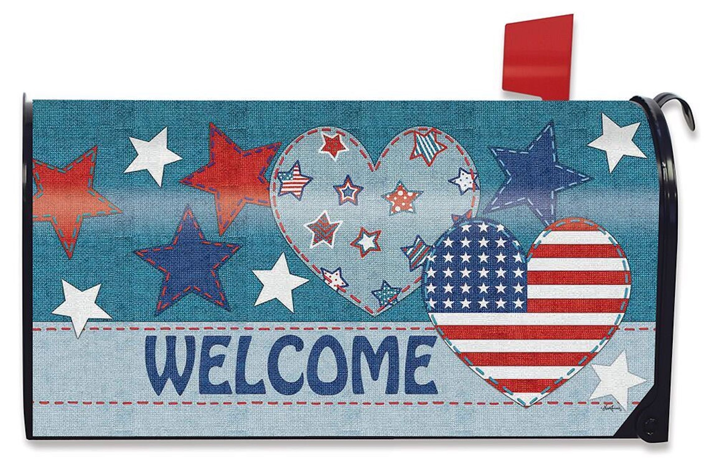 Briarwood Lane Patriotic Patchwork Welcome Mailbox Cover Primitive Hearts Stars Standard