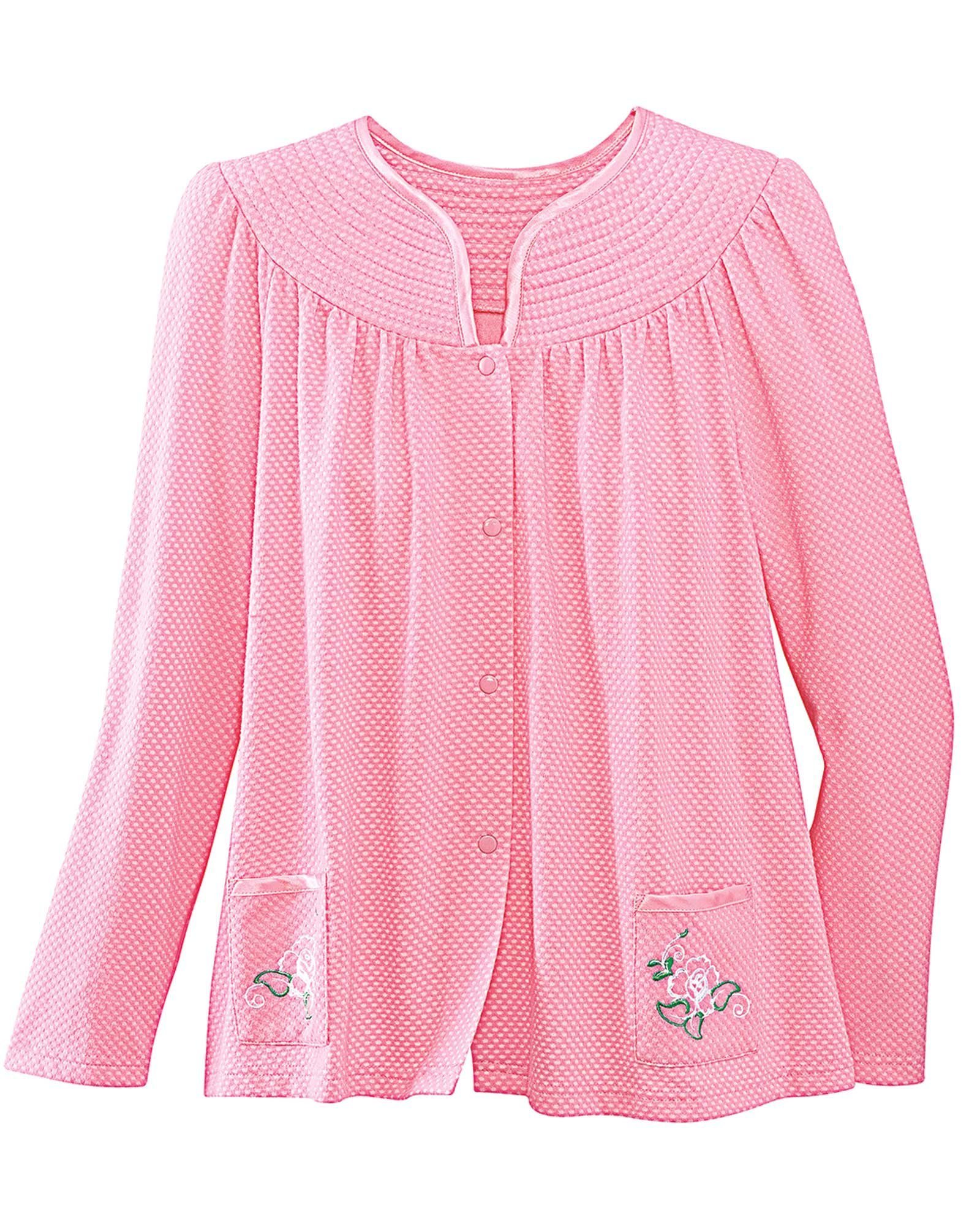 National Trapunto Yoke Bed Jacket, Rose, 1X by National