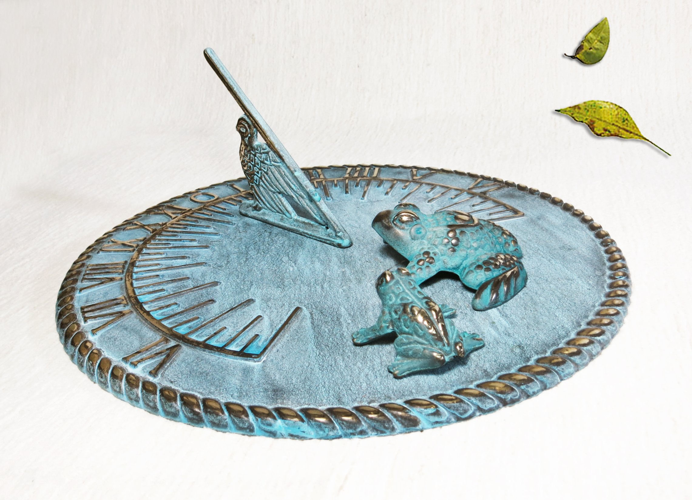 Brass Decorative Sundial 10'' Inches Wide - With 2 Frogs