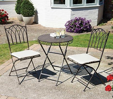 Tavoli E Sedie Da Giardino In Metallo.Bistro Set Con Cuscini Set Di Tavolo E Sedie Da Giardino Pieghevole