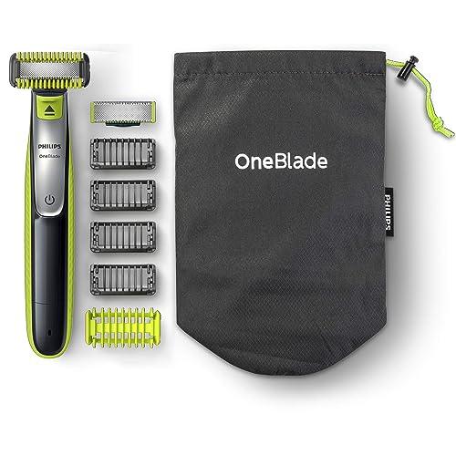 Philips OneBlade Cara y Cuerpo QP2630 30 Recortador de Barba Recargable con Peine Guía para el Cuerpo 4 Peines Guía para Barba de 1 2 3 y 5 mm Uso en Seco y Húmedo