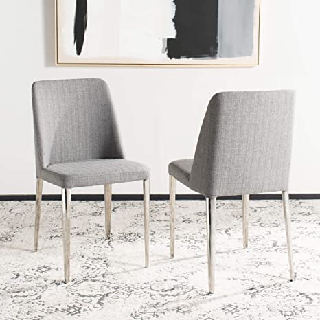 quality design 83f87 e3966 Safavieh Home Collection Mid-Century Modern Baltic Linen Grey Side Chair  (Set of 2)