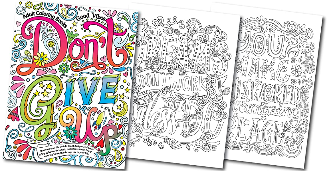 Adult Coloring Books Good vibes Dont give up  Motivate