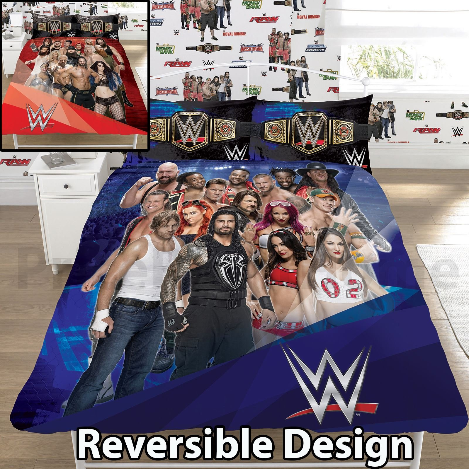 WWE Face V Heel UK Double/US Full Duvet Cover and Pillowcase Set