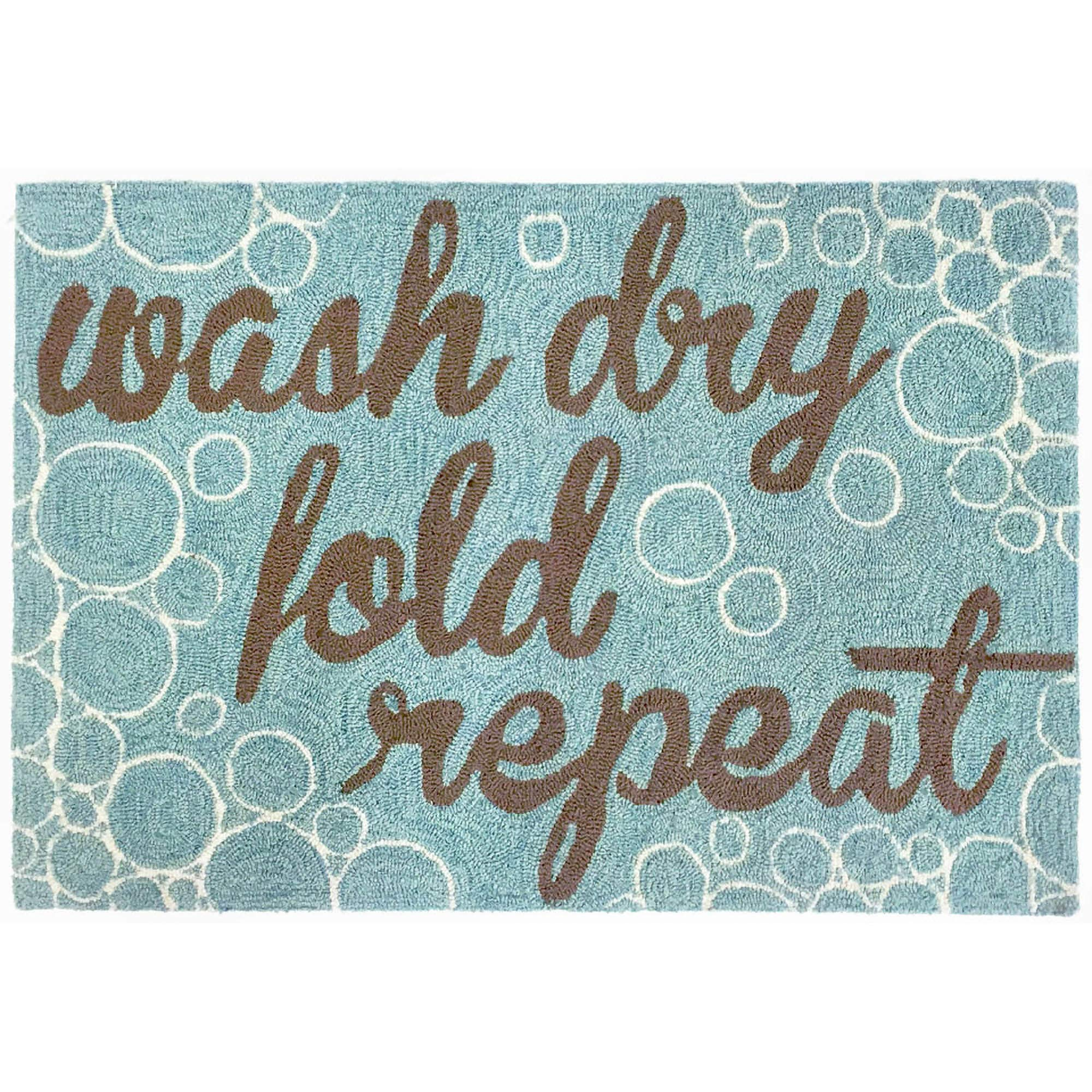 Liora Manne FTP12154904 Frontporch Front Porch Laundry Wash.and Repeat Aqua Indoor/Outdoor Rug, 20'' X 30'', Blue and Brown