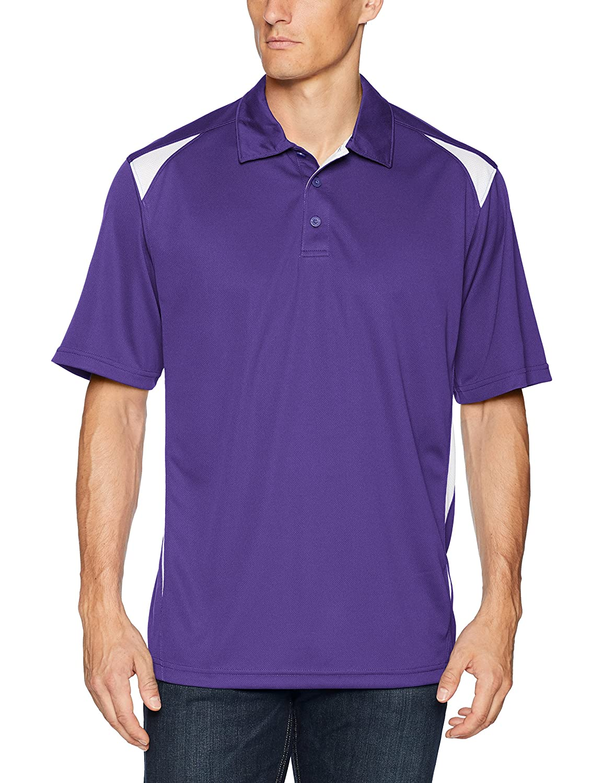Augusta Sportswearメンズプレミアスポーツシャツ B00E1YRXJ2 Large|パープル/ホワイト パープル/ホワイト Large