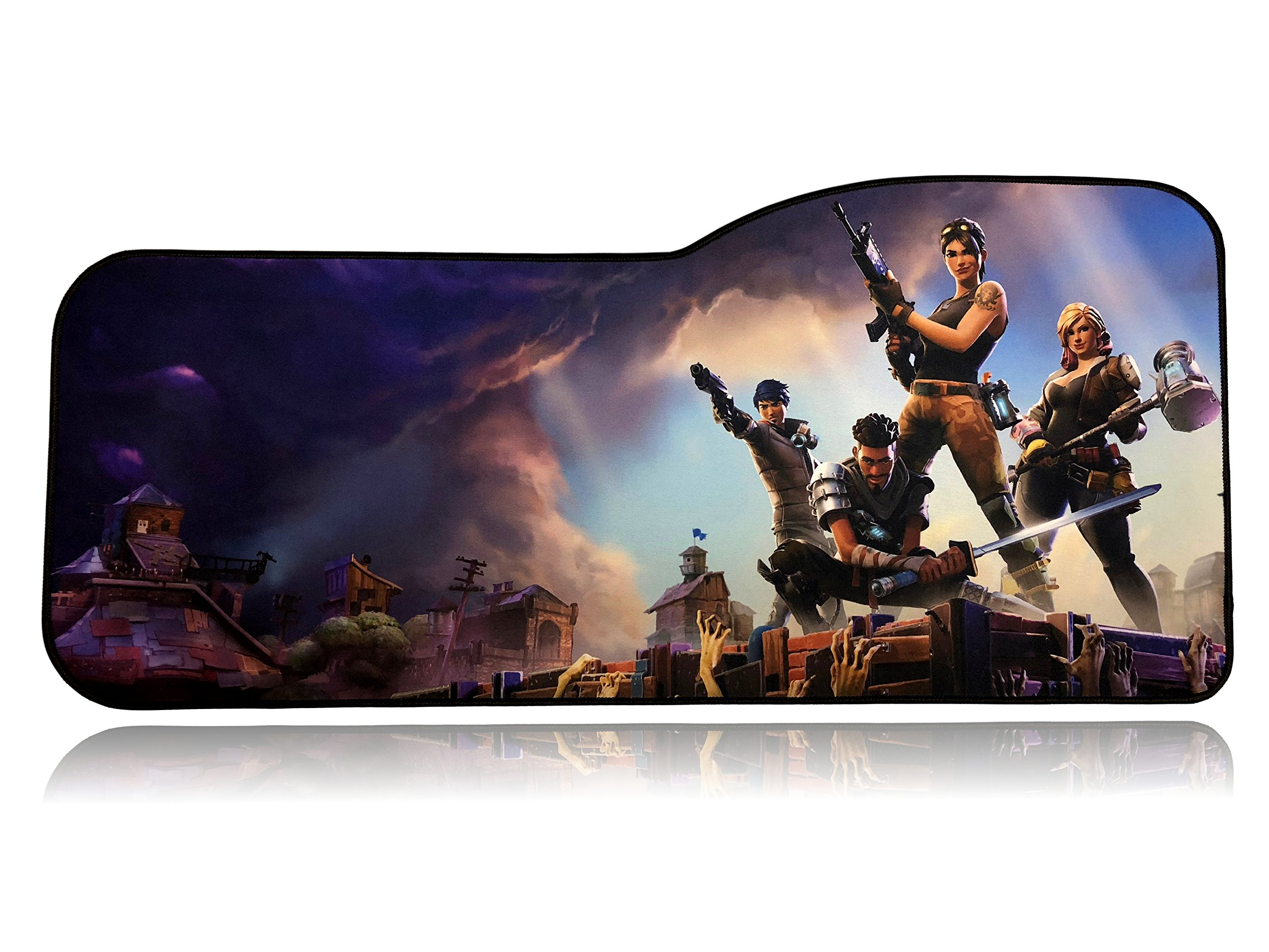 Fortnite Extended Size Custom Professional Gaming Mouse Pad - Anti Slip Rubber Base - Stitched Edges - Large Desk Mat - 28.5'' x 12.75'' x 0.12'' (Curve, Fortnite)