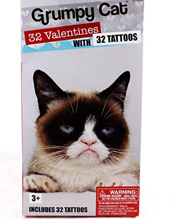 32 grumpy cat valentine classroom sharing cards with 32 tattoos - Grumpy Cat Valentine