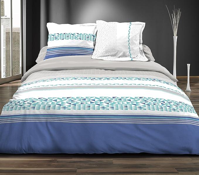 Douceur de Nuits HC3 1279 LEMON BLEU Parure 3 Pièces Housse de Couette Coton Multicolore 220 x 240 cm
