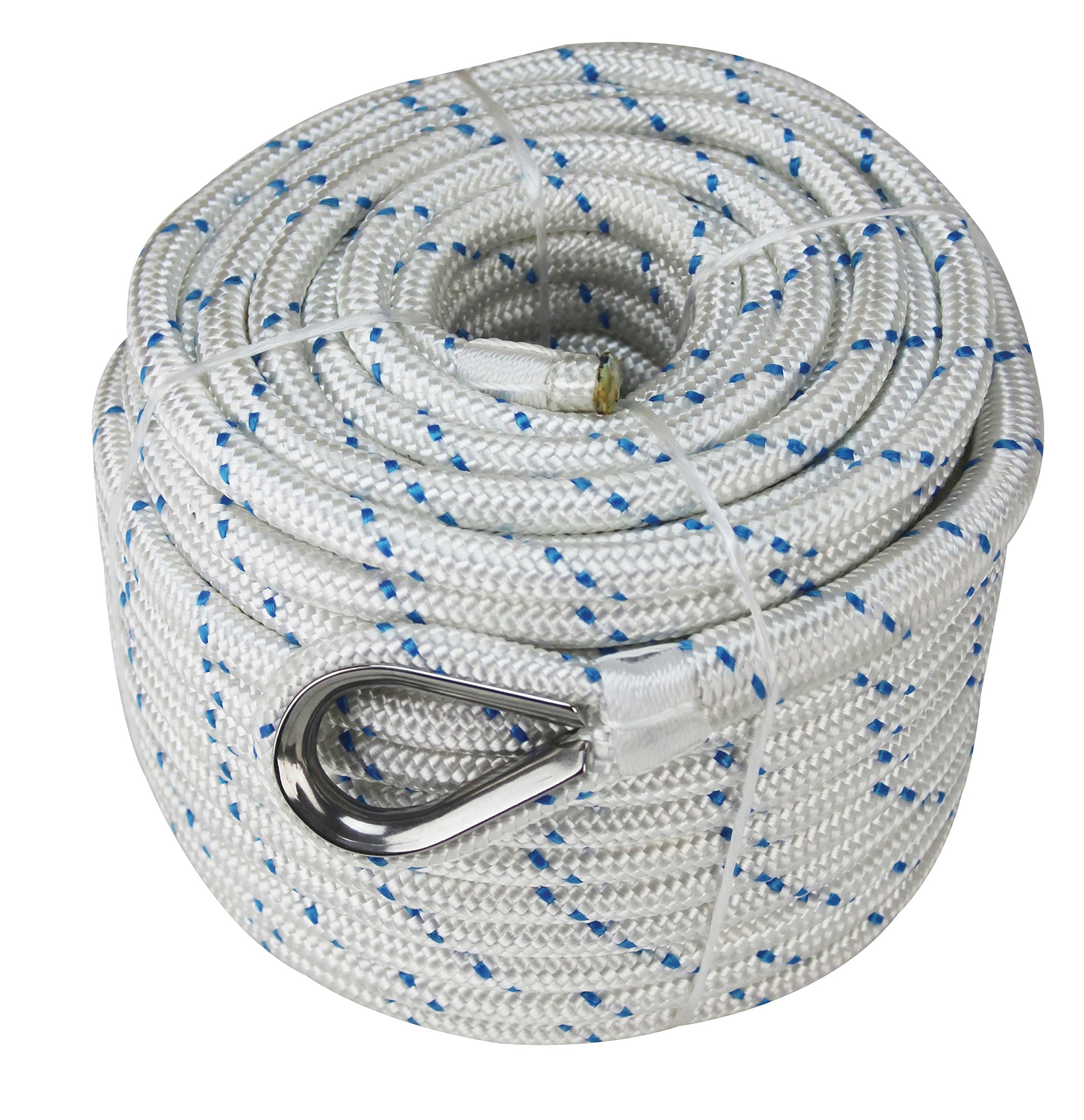 Extreme Max 3006.2532 White w/Blue Tracer 5/8'' x 200' BoatTector Double Braid Nylon Anchor Line with Thimble