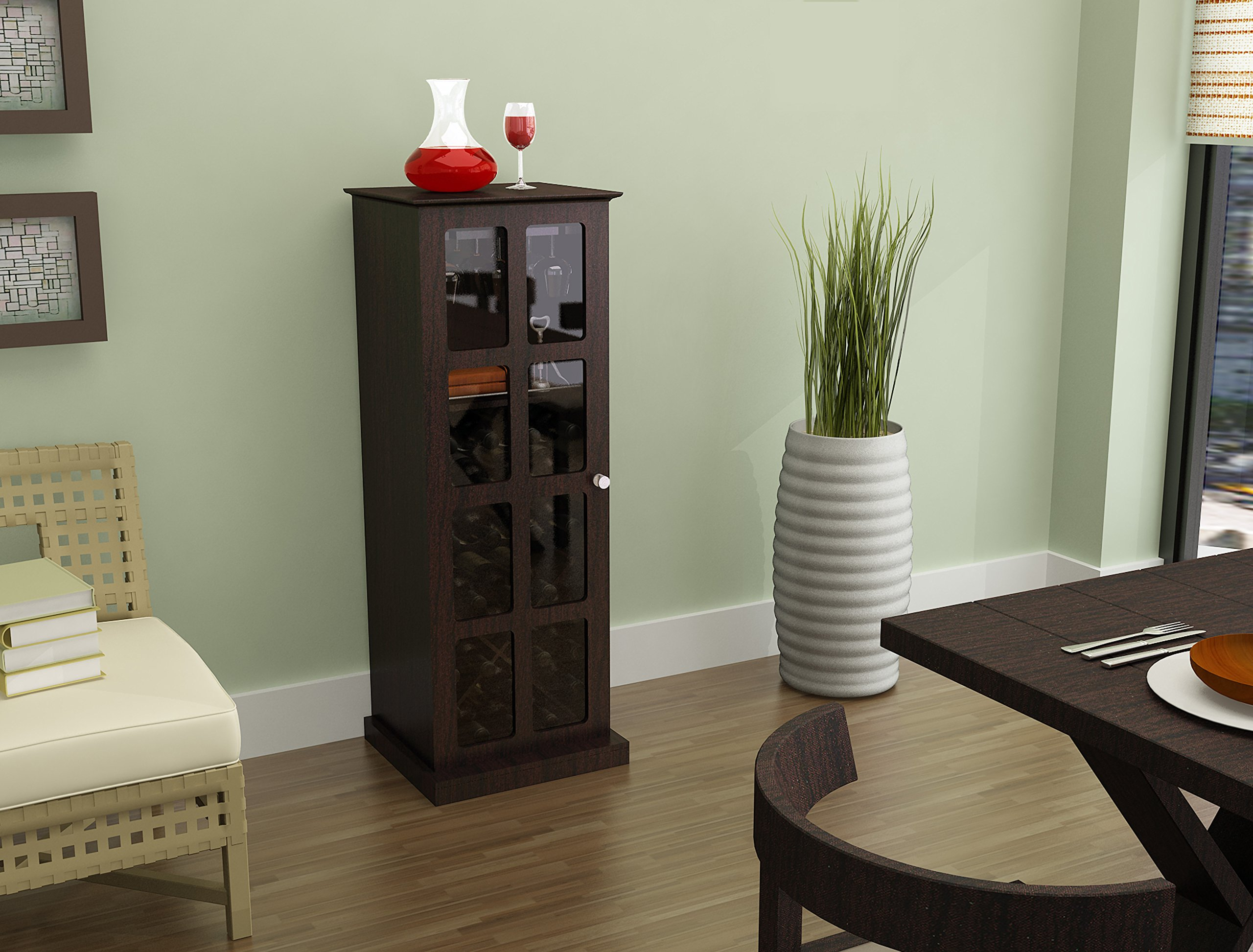 Atlantic Wood Bar Wine Rack Liquor Cabinet with 24 Bottle Holder and Glass Storage, Espresso by Atlantic