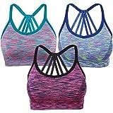 Yolev Sport BH Yoga BH Bustier ohne Bügel Gepolsterer Stretch Sports BH für Fitness Training 3 Stück/Pack